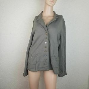 Neon Buddha Button Up Jacket S Army Green Coat